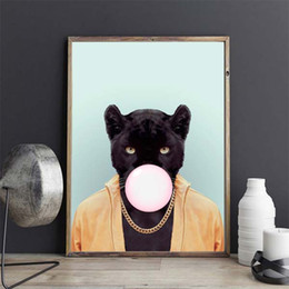 kawaii black cat bubble nordic animal canvas painting art print poster wall picture room decor no frame