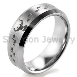 shardon 8mm bevel tungsten carbide comfort fit lasered deer hunting design ring for men outdoor wedding band