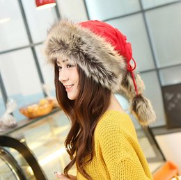 Discount wholesale knitted cashmere hat Winter new hat wool cap thicker warmth knit cute ethnic Mongolian hat can be used as a scarf multi-purpose function