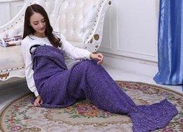 Взрослый ручной хвост русалки Одеяло крючком Mermaid Одеяло хвост русалки спальные мешки Кокон Матрас Knit диван Одеяло 195 * 95 A1234 50