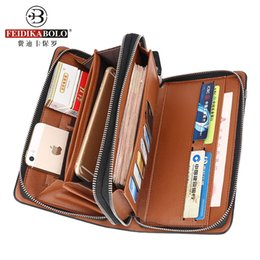 Discount mens long clutch bags leather Business Men Wallet Long Designer Double Zipper Leather Male Purse Brand Mens Clutch Handy Bag Luxury Wallets carteira Masculina