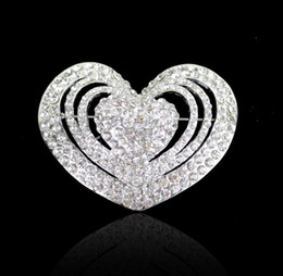 online shopping 5CM Clear cheap price rhinestone brooch heart brooch in silver beautiful brooch for