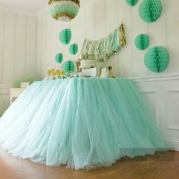 2016 new tulle table skirt tutu table decorations for wedding imitation pearls birthday baby bridal showers party tutu party decor