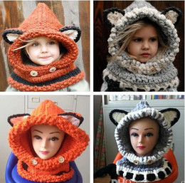 2017 winter baby windproof Lovely Fox Cat Ear Winter Windproof Hats and Scarf Set for Kids Crochet Headgear Soft Warm Hat Baby Beanies cheap winter baby windproof
