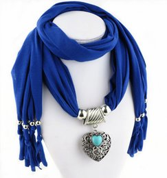Discount women scarves dhl shipping Wholesale DHL Free Shipping Scarves For Women Heart Pendant Turquoise Wraps Zinc Alloy Multi Colors Best Ladies Gifts Christmas New Year