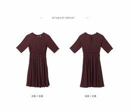 Wholesale Toyouth Vestido Primavera Nuevas Mujeres Medio Manga A Line Señora Vintga Dot Impreso O Cuello Vestidos Largos