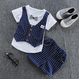 online shopping 2017 New Spring Kids Clothes Boys Baby Clothing Sets Vest Shirt Pants Toddler Boys Clothes Set Wedding Outfits Birthday