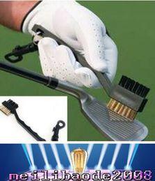 Portable 2 Side Way dupla cerdas Golf Club Brush Cleaner Bola de limpeza Clip Groove Lightweight frete grátis MYY