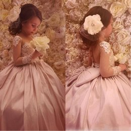 Discount cute baby long gown 2017 Cute Cheap Flower Girl's Dresses Sheer Neck Ball Gown Satin Baby Girl Birthday Party Pageant Dresses Girl's Pageant Gowns