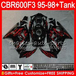 8 Подарки 23 цветов для HONDA CBR600F3 95 96 97 98 CBR600RR FS 2HM12 CBR600 F3 600F3 CBR 600 F3 1995 1996 1997 1998 обтекателя красным пламенем черные