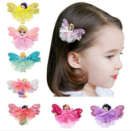 Wholesale Venta al por mayor Froze Girls Baby Baby Barrettes Cute Mini Princesa Dress Horquillas Grosgrain Cinta Bow Headdress Hair Accesorios