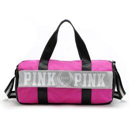 Moda Bolsas Mulheres Amor VS Pink Viagem De Capacidade Grande Duffle Striped Waterproof Beach Bag Shoulder Bag