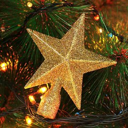 wholesale 1pc christmas star shiny xmas decoration xmas tree topstar for table top new year decorations ornament for home gift sale 20cm - Christmas Decorations Wholesale