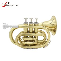 wholesale Professional LADE B Bb Brass Pocket Trumpet Tone Flat Wind Instrument with Mouthpiece Gloves Cloth Brush Grease Hard Case from glove case manufacturers