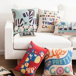 giraffe elephant zebra bus have nice day cartoon decorative throw pillowcase for sofa designer cotton linen cushions cover home decor cusion - Discount Designer Home Decor