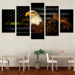 5 pcs set framed hd printed american freedom eagle flag picture custom canvas prints animal oil painting artworks poster