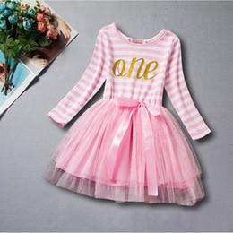 wholesale primera ropa de cumpleaos para bebs rosa letra de oro nias vestido de tut de