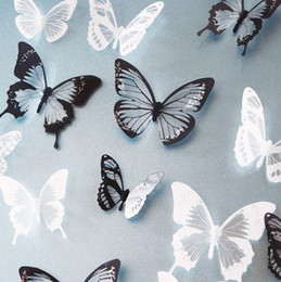 wholesale 18pcs black white crystal butterfly sticker art decal home decor wall mural stickers diy - Wholesale Home Decor Suppliers