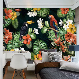 Wholesale Custom Mural Wallpaper Painting Pastoral Parrot Tropical Rainforest Plant Cartoon Living Room Tv Backdrop Wall Papers Home Decor