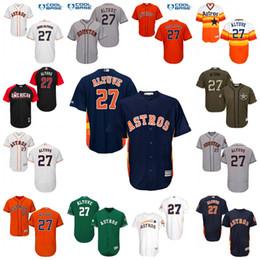 8b1584bf885 ... Mens Youth Houston Astros 27 Jose Altuve Baseball Jerseys White Navy  Orange Grey Flexbase Cool Base ...