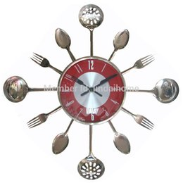wholesale 18inch large decorative wall clocks metal spoon fork kitchen wall clock cutlery utensil creative design home decor decorative kitchen wall clocks - Decorative Wall Clocks