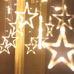 led glow luminous star string curtain lights curtain party wedding christmas tree window pendant lamp fairy light home decor - Home Decor Lights