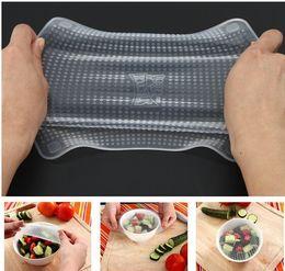 4pcs / set Magic Silicone Alimentos Wrap Seal Cover Esticar Cling Film Fresh Mantenha o alimento fresco Cling Film