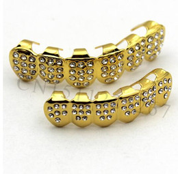 online shopping 2017 club star Gold Plated ICED OUT CZ Teeth GRILLZ Top Bottom Tooth Caps Hip Hop Bling NEW with Free mode Simulated Diamonds