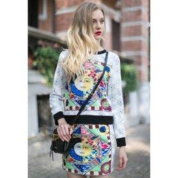 Senhora impresso vestido de duas peças com saia curta de cintura larga pullover manga comprida com paisley mulheres vestido de roupa ao ar livre