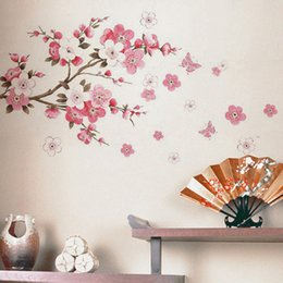 Discount wall decal cherry blossom Cherry Blossom Wall Stickers Waterproof Wall Decals DIY Flowers Home Decoration Accessories Living Room Wall Art