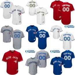 Discount blue jays cool base Baseball Jerseys Men's Toronto Blue Jays Customized Majestic Blue White Red Grey Flexbase Cool Base Authentic Custom Jersey Size S-4XL