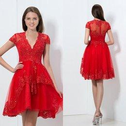 Wholesale Meilleures ventes A Line V Neck Robes Homecoming rouge avec des appliques à manches courtes Beaded Sequined Custom Made Party Graduation Dresses