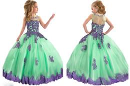 Wholesale En stock Vestidos de niña de flor púrpura verde Vestidos de fiesta de los niños de las niñas del desfile de los Appliques de las niñas Princesa Niños Cumpleaños Novia
