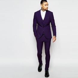 Slim Fit Purple Grooms Wedding Tuxedo Canada Best Selling Slim Fit