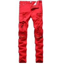 Red Ripped Skinny Jeans Online | Red Ripped Skinny Jeans for Sale