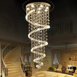 Long Ceiling Light Fixture: Modern led Spiral Lustre Crystal Ceiling Light Fixtures Long Stair Light  for Staircase Hotel Foyer Living,Lighting