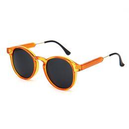 wholesale women round sunglasses transparent frame men eyewear mirror lens coating gafas uv400 brand designer sunglasses transparent frame mirror lenses