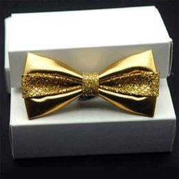 Wholesale Moda Pu Sequin De Cuero Hombres Patchwork Tie Corbata Femenina Rojo De Oro Plata De Adulto Cravate Homme De La Boda De Lazo Lazos Para Hombres