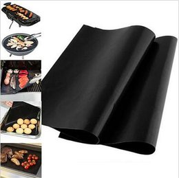 Discount machine ce Barbecue Grilling Liner BBQ Grill Mat Portable Non-stick And Reusable Make Grilling Easy 33*40cm Black Oven Hotplate Mat CCA5714 500pcs