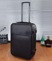 Top Grade Black Taiiga Real Leather Travel Suitcase PEGASSE LEGERRE M30005 Rolling Luggage