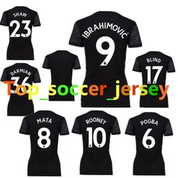 Wholesale 2017 Maillot de football féminin Rooney Pogba Accueil Maillots de football rouge RASHFORD IBRAHIMOVIC Femme filles Chemises femme uniforme