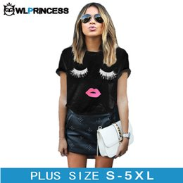 Wholesale Owlprincess Taille Plus XL Cils Rouge Lips Printed Women T shirt Loose Femmes Summer Tee Tops Short Sleeve Blanc Femmes T shirts