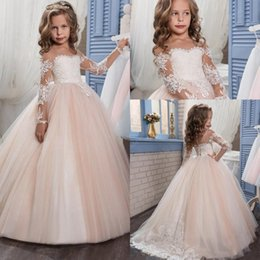 Wholesale Robes enfants Flower Girls pour mariage Pentelei avec Illusion manches longues Tulle Blush Pink Ivory Little Girls Robes