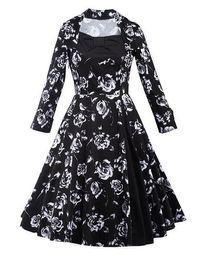 Wholesale El nuevo estilo de la calle del vestido de los lunares de la señora delgada de los vestidos del resorte de la manera de las mujeres de la manga larga elegante imprimió el vestido S XL de la calle del vestido de los puntos