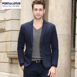 Wholesale Venta al por mayor PortLotus chaqueta de traje de hombre con ciego Sky Blue Pot Tela de impresión Slim Fit formal de estilo único botón