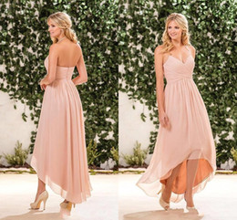 Discount pictures white beach wedding dresses High Low Halter Bridesmaid Dresses 2017 New Cheap Blush Pink A Line Chiffon Maid Of Honor Gowns Only $69 Wedding Guest Dresses Beach Wear