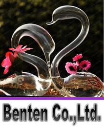 Mano de vidrio soplado cisne decoración de la casa de decoración conjunto de 2 vasos de vidrio de arte hermoso regalo del amante decoración de flores LLFA