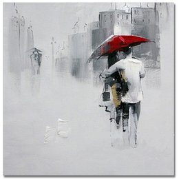 Lovers walking oil painting online lovers walking oil for Painting red umbrella
