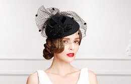 2017 Black Pillbox Fascinator Chapeaux Chapeaux de cocktail en laine Fascinateurs Chapeau de mariage Chapeau de soirée formel Chapeau de perchage Fascinator