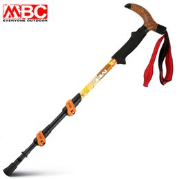 Discount walking stick fiber Wholesale- 1pcs lot 240g pcs MBC 66% Ultralight Carbon Fiber Quick Lock Walking fiber Walking Hiking Sticks